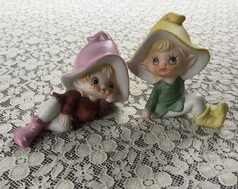Adorable Pair Of Vintage HOMCO Pixie Elfs Adorned With Cute Little Freckles ~ Boy And Girl / Brother And Sister ~ Buy One Or Buy Both