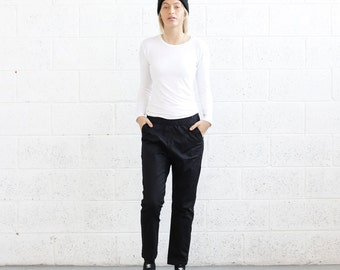 Cropped twill stretch track pants , Black.