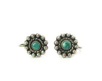 Navajo Turquoise Earrings. Sterling Silver, Blue Green Gem. Sun, Flower Motif. Fred Harvey 1940s Screw Backs Vintage Native American Jewelry