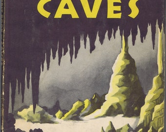 Antique Vintage First Book of Caves 1956 Children Fifties Retro Graphic Design Illustrations