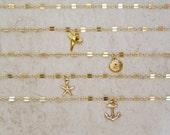 Gold Chain Choker, Small Dainty Charm, Hawaii Beach Jewelry, Layering Necklaces, Elegant, girls Gift Idea, Adjustable Necklace, Boho Fashion