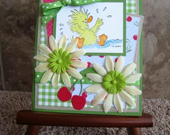 Handmade Card - Happy Ducky - Hand Stamped