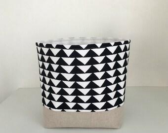 Fabric Storage Basket - New Wider Size - Modern Storage Basket - Black and White Triangles