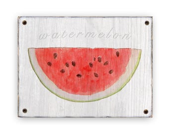 Watermelon art on wood - Kitchen decor - Watermelon Rustic weathered wood sign  Rustic Country Kitchen decor - Fruit and vegetable art decor