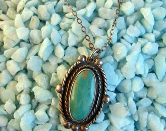 1960s 1970s Turquoise Sterling Silver NECKLACE Oval pendant southwest vintage