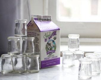 Vintage Miniature Restaurant Glass Creamer Milk Bottle / Farmhouse Style