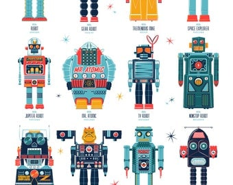 Atomic Automatons Style Silkscreen Poster by Ian Glaubinger inspired by Tin Toys Robots Space Retro