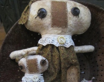 KIN FOLK DOLLS~ Mother and baby~ Made To Order~ designed by thebagglady76
