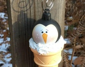 RESERVED for Meredith Penguin ice cream cone ornament, hand painted, christmas ornament, hand painted ornament, Christmas tree ornament,