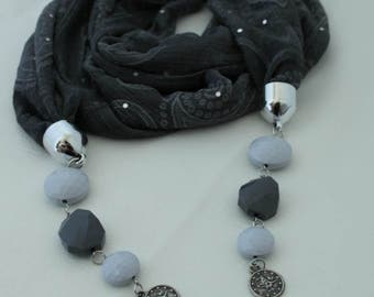 Foggy Gray Necklace Scarf,Jewelry Scarf,Pendant Tulle Scarf,Lariat,Gift Ideas For Her,Women Fashion Accessories, Christmas Gifts