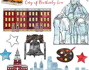 Philadelphia Clip Art, Watercolor Phili Clip Art American Cities, Commercial Use
