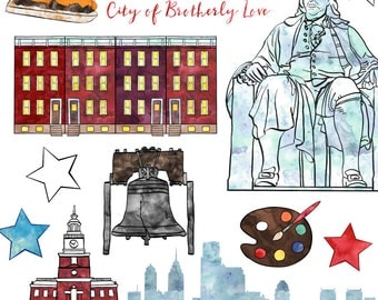 Philadelphia Clip Art, Watercolor Phili Clip Art American Cities, Commercial Use