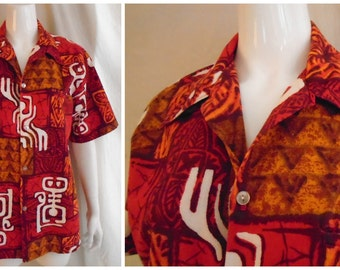 Vintage Hawaiian Shirt Tiki Shirt 1960's Cotton Barkcloth M/L Aloha Shirt Spring Break