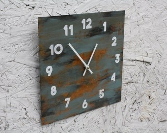 Urban, rusty Industrial Metal Wall Clock. Abstract. Distressed. Minimalist. Art. Decor.  Functional Art.