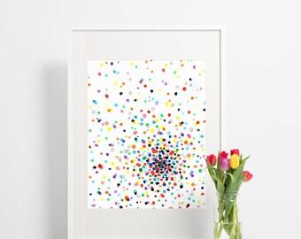 Abstract Watercolor Wall Art Print / Colorful Rainbow Polka Dots / Contemporary Home Decor