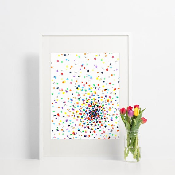Abstract Watercolor Wall Art Print / Colorful Rainbow Polka Dots / Contemporary Home Decor