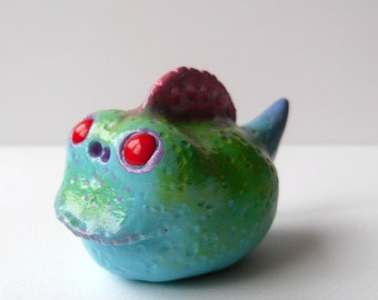 Polymer Clay Monster - Clay Swamp Monster Sculpture - Fantasy Creature Figurine - Whimsical Home Decor - Polymer Clay Creature - OOAK