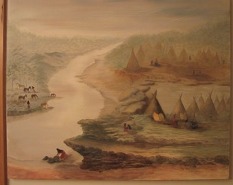 "Original Native American Landscape Oil Painting by Marilyn Guerrieri 20"" X 24"""