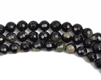 10mm Round Faceted STORMY NIGHT AGATE 1 Beads, full strand, black, tan, green  Natural Gemstones, gag0302