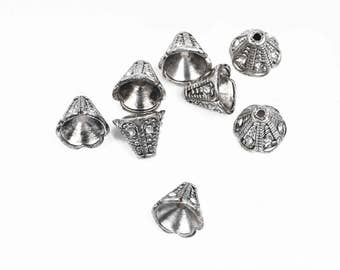 6 Rhinestone CONE BEAD CAPS, antiqued silver with embedded clear crystals, fits up to 8mm beads, 11x9mm, fin0671