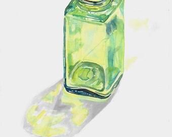 Green Bottle I, original ooak watercolor painting, realism, green glass, professional artist, Michigan artist, small painting, original art