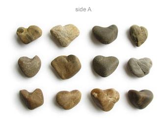 12 Heart Shaped Stones - Natural River Rocks