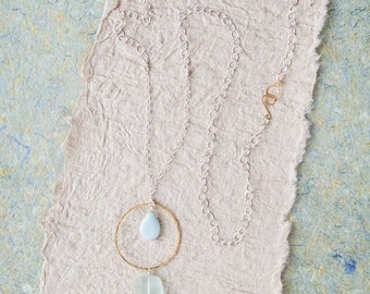 Long Silver Necklace, Amazonite Necklace, Blue Necklace Pendant, Circle Necklace, Gift For Her, Blue Stone Necklace