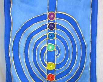 reiki chakra silk art, spiritual gift,Cho Ku Rei symbol, chakra art, meditation art, spiritual art, healing art, reiki flag, chakra flag,