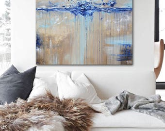 ORIGINAL Large Art Abstract Painting Blue Brown Wall Art Modern Acrylic Painting Modern Home Decor Coastal Wall Decor Textured  - Christine