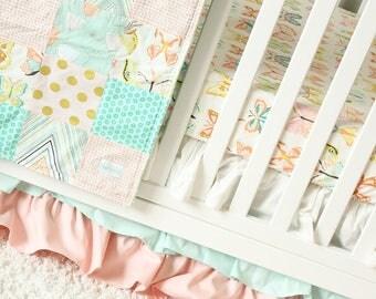 Baby Girl Bedding, Butterfly Nursery Crib Set, Mint, Blush Pink, White Ruffle Skirt, Patchwork Blanket, Fitted Crib Sheet