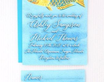 Tropical Wedding Invitation, Beach Wedding Invitation, Fish Invitation, Destination Wedding Invitation, Coral Reef Invitation, Beach Invites