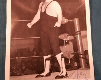 The Mad Monk Autographed Promo Photo, The Mad Monk Wrestler, WWF, WWE, Wrestling, Vintage Wrestler, Autograph