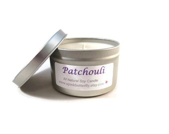 Patchouli Soy Candle - 8 oz Scented Handmade Hand-Poured Natural Vegan Soy Wax Candle - Eco-Friendly Recyclable Tin