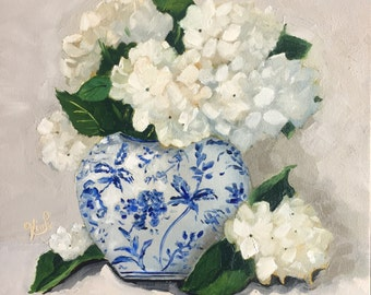 Original still life painting: Hydrangeas in Blue and White Vase, floral painting, white, blue gray fine art canvas
