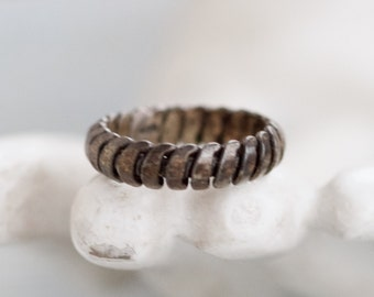 Silver Ring Band - Twisted Sterling Silver Ring Size 6.5 - Vintage Oxidized Jewelry