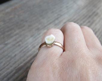 Antique Victorian Era Milk Tooth Ring in 14k Rose Gold