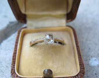 SOLD VIA LAYAWAY:  Antique Rose Cut Diamond Solitaire in 14k Gold Engagement Ring