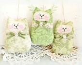 St. Patrick's Day CAT Ornaments, Set of 3 Olive Green, Bowl Fillers Primitive Party Favors Decorations Home Decor CharlotteStyle