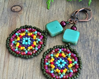 Moroccan Earrings , colorful Huichol jewelry