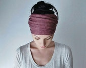 VICTORIAN ROSE Head Scarf - Vintage Raspberry Hair Wrap - Linen Jersey Headband - Womens Bohemian Hair Accessories - Boho Love