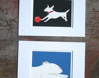 Bull Terrier Small Sketches with White mount  A5 Choice of 8 Colourful Dogs