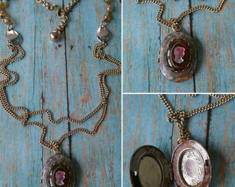 Upcycled cameo locket necklace, repurposed, shabby chic, victorian, boho, one of a kind jewelry