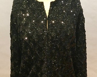 Glitzy Black Sequins Long Sleeve Jacket M-L