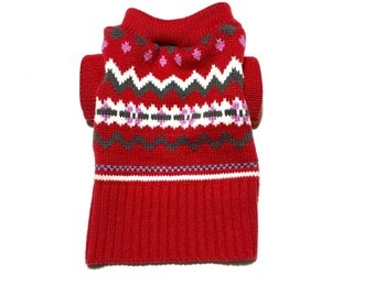 X Small Soft Red, Gray, White and Pink Christmas Designer Dog Sweater, Pet Puppy Apparel, Girl and Boy Dog Clothes 0343