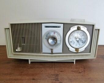Mid-Century Modern Motorola AM Tube Radio and Alarm Clock