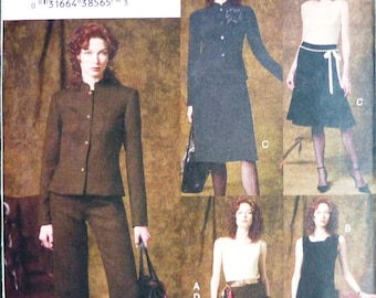 Vogue 7047 separates sewing pattern, comprises jacket, top, pants, skirt and dress, 5 easy pieces, sizes 12-14-16 UNCUT