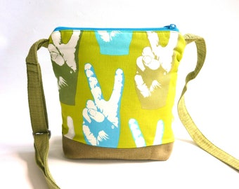 Peace crossbody bag, boho hip purse, hippie sling purse, aqua blue green cross body bag, adjustable strap, vegan, festival shoulder bag