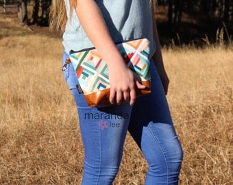 AVA Clutch -Large -Roadway with PU Leather  READY to SHIp Cosmetic Wallet Makeup Diapers