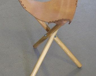 Vintage Wood and Leather Three Leg Stool