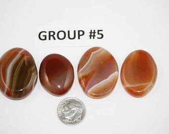 Polished Carnelian Agate Freeform Cabochons Pack of 4 - Group #5